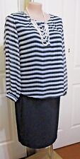 LADIES MILLER'S BLOUSE WHITE BLUE & BLACK STRIPES  LONG SLEEVES SIZE 20