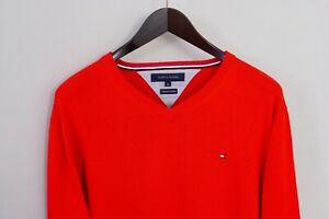 Men Tommy Hilfiger Jumper Red Premium CottonV Neck XL XMQ585
