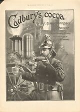 1902 ANTIQUE PRINT- ADVERT -CADBURY'S COCOA -FIREMAN - MAKES STRONG MEN STRONGER