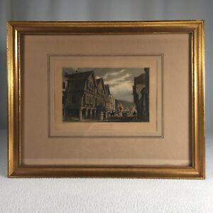 "Antique Engraving Dartmouth Hand Painted T Allen FJ Havill 1830 13.25""x 10.5"""
