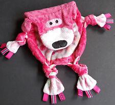 Pink Bear Ribbon Tags Minky Dot Knots Sensory Security Blanket Lovey Handmade