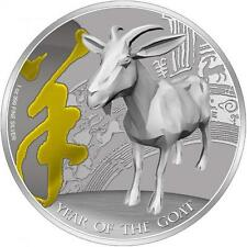 2015 Year of the Goat 1 oz Gilded Silver Proof Coin