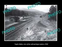 OLD LARGE HISTORIC PHOTO OF NAPLES IDAHO, THE RAILROAD DEPOT STATION c1940