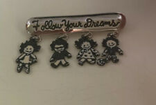 """ w/ Children Charms Brooch Pin Papel Giftware "" Follow Your Dreams"