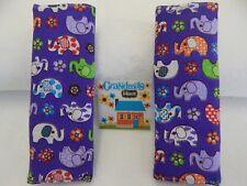 Baby Car Seat Belt Strap Covers Highchair Stroller Pram -  Elephants on Purple