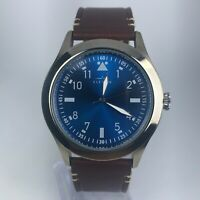 Elevon Mens Blue Dial Brown Leather Band Quartz Wrist Watch