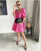 BNWT H&M SS2020 TRENDY PUFF SLEEVED CERISE SHORT DRESS BLOGGERS FAVOURITE LARGE