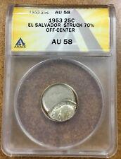 El Salvador 1953 25c Error Struck 70% off center Anacs Au58 .900 silver