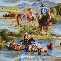 BonEful Fabric FQ Cotton Quilt Cowboy Western US Scenic Horse Farm Country Water