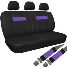Car Seat Cover For Auto Honda Civic 8pc Bench Purple Black w/Belt Pad/Head Rest