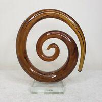 Modern Murano Art Glass Sculpture Figurine Amber Burnt Orange Brown Swirl