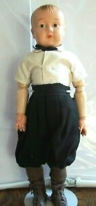 """Antique Unmarked 16"""" Metal/Tin Head Wood Articulated Body Boy Doll BEAUTIFUL"""