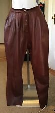 Vintage Soft Lambskin Leather Pleated Pants Wine Color Size 12