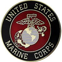 US MARINE CORPS USMC ROUND LAPEL PIN - LARGER SIZE- MADE IN THE USA!
