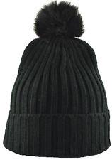 """12"""" Cuffed Plain Beanie Knit Hat With Rabbit Pom Pom-black"""