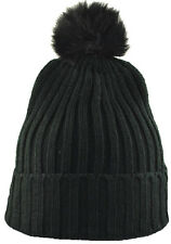 "City Hunter 12"" Cuffed Solid Plain Pom Beanie Knit Hat Black"