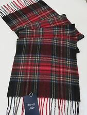 Murray Allan cashmere scarf red green blue checked NEW mens womens ladies