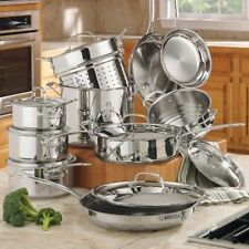 Cuisinart Pots and Pans Cookware Set Stainless Kitchen Cooking Sets on Sale 17Pc