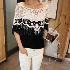 Elegant Women Off Shoulder Short Sleeve Crochet Loose Splice Tops Blouse Shirt