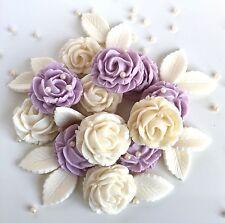 Lila & Ivory Ramo De Rosas Flores De Boda Pastel Comestible Decoración Toppers