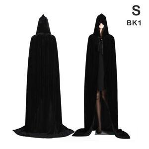 Medieval Vampire Velvet Hooded Cloak Long Robe Witch Capes Halloween Costume#