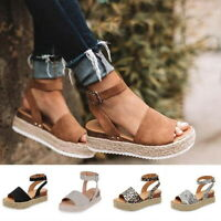 US Women's Ankle Strap Flatform Wedges Shoes Espadrilles Summer Platform Sandals
