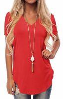 Top Blouse Elegant Solid V Neck Floral Casual Jumper T-Shirt Tops Short Sleeve