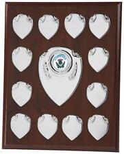 Perpetual Annual Chrome 12 Year Shield 25.5cm Free Engraving Free Centre BKC166A