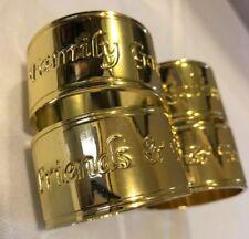 Set of 4 LENOX SENTIMENTS Napkin Rings Gold Enamel Preowned