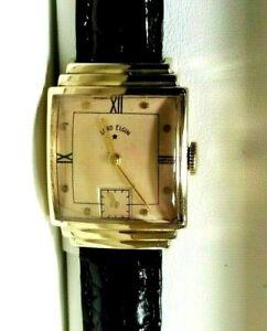 Gorgeous! Deco, Lord Elgin 14k Solid Gold Man's Wristwatch 21j  559 Mvt. Ca.1945