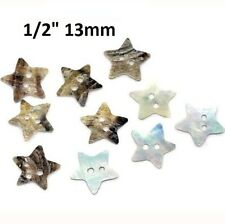 """Lot of 10 MOTHER OF PEARL STAR 2-hole Shell Craft Buttons 1/2"""" (12mm) (5232)"""