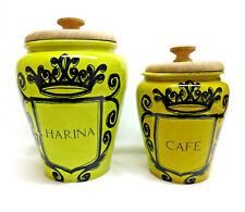 2 Pc. Vintage SPAIN Pottery Kitchen Canisters ~ Harina / Cereal ~ Cafe / Coffee