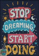 "Cross Stitch Kit ~ Design Works ""Stop Dreaming Start Doing"" Room Sign #DW2574"