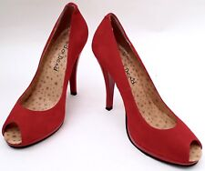 RED OR DEAD - Red Suede Peep Toe Stilettos - UK5/EU38 - Lovely Condition.