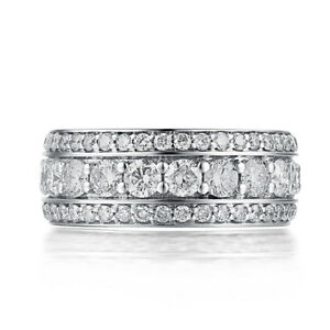 Engagement Anniversary Wedding Band Ring 3.1ct Moissanite Solid 14K White Gold