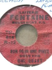 Paper Token Laiterie Fontaine Good For One Pint Milk, French, Red Paper D3