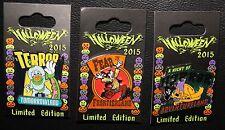 Disney 2015 Donald Goofy Pluto Halloween 3 LE Pin Set Frontier Tomorrow Land
