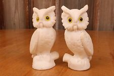 Pair Of Vintage White Ceramic Owl Statues With Eyes Figure Mid Century Modern