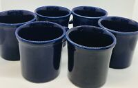 6 FIESTA WARE Cobalt Blue Tom & Jerry 8oz Coffee Mug Cup Ring Handle Vintage