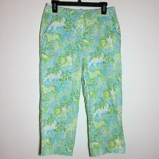 Larry Levine Crop Pant Size 10 Jungle Print Green Blue Lion Zebra Deer Capri