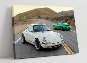 WHITE PORSCHE -FRAMED CANVAS PAINTING WALL ART PICTURE PAPER PRINT