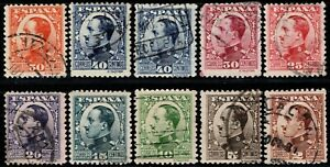 1930.Ed:º490/98,497A.Alfonso XIII.Vaquer Perfil.S.Completa.Incluye 40cts Tipo II