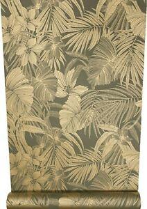 Metallic Gold Tropical Floral Palm Leaf Slight Imperfect Vinyl Feature Wallpaper
