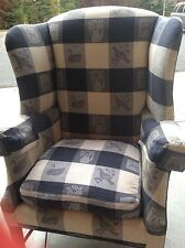 BOB TIMBERLAKE WING BACK CLUB CHAIR  NAVY BLUE CREAM PLAID LEXINGTON MOTIF