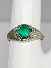 Antique Edwardian 1900s $4000 1ct AAA+++ Colombian Emerald 10k White Gold Ring