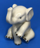 Lenox Porcelain Sitting Baby Elephant Figurine White w Gold Trim Toes Gift Idea