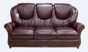Juliet 3 Seater Burgandy Italian Leather Sofa Settee
