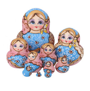 10pcs Blue Dolls Set Wooden Russian Nesting Babushka Matryoshka Hand Painted