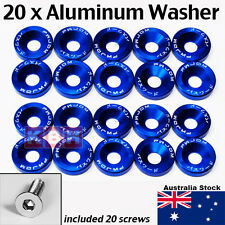 20pcs Billet Aluminum Fender Bumper Washer Bolt Engine Bay Dress Up Kit BLUE