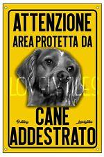 BRITTANY AREA PROTETTA TARGA ATTENTI AL CANE CARTELLO PVC GIALLO